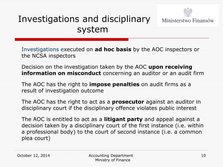 Investigations and disciplinary system