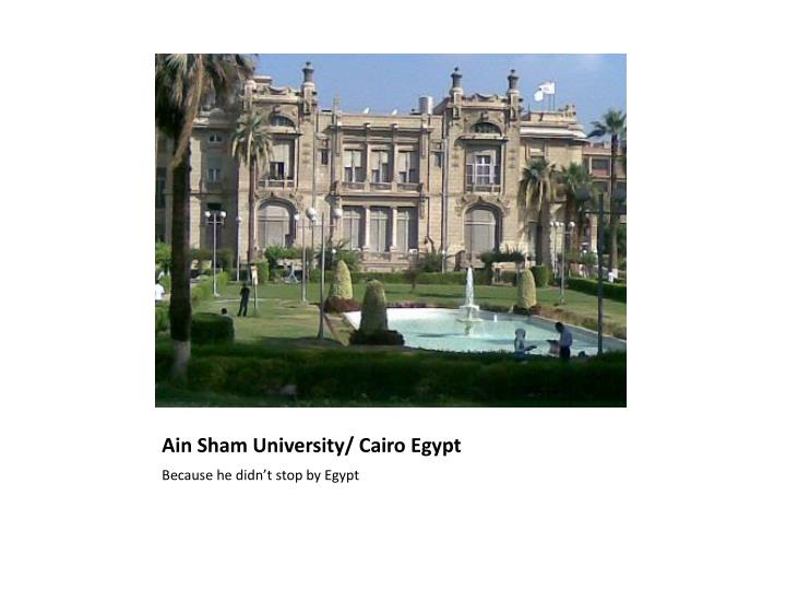 Ain Sham University/ Cairo Egypt