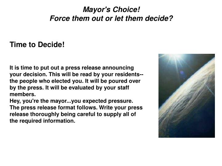 Mayor's Choice!