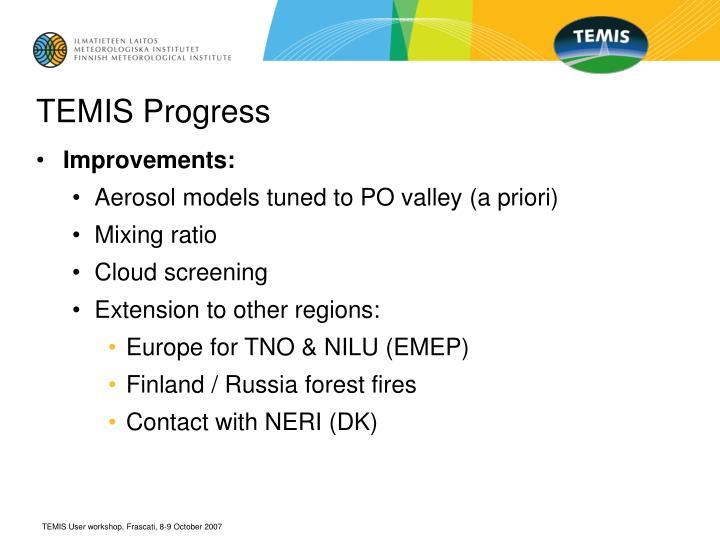 TEMIS Progress