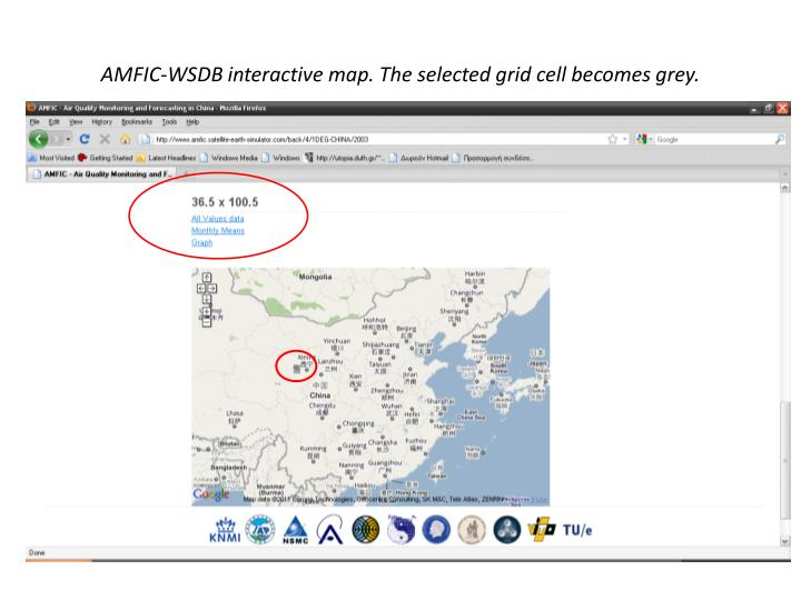 AMFIC-WSDB interactive map. The selected grid cell becomes grey.