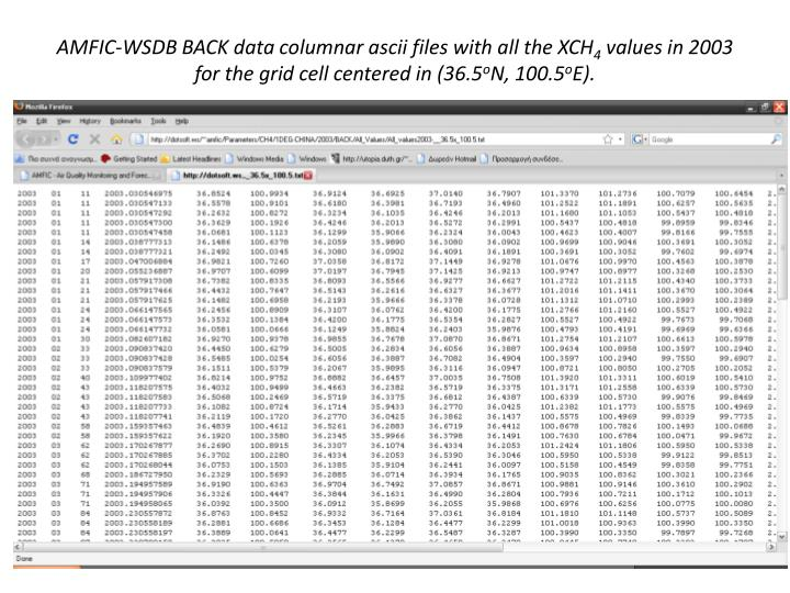 AMFIC-WSDB BACK data columnar ascii files with all the XCH