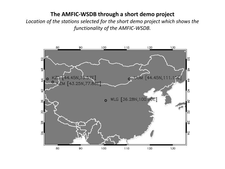 The AMFIC-WSDB through a short demo project