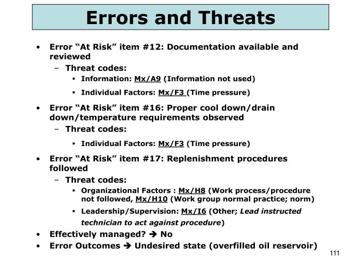 "Error ""At Risk"" item #12: Documentation available and reviewed"