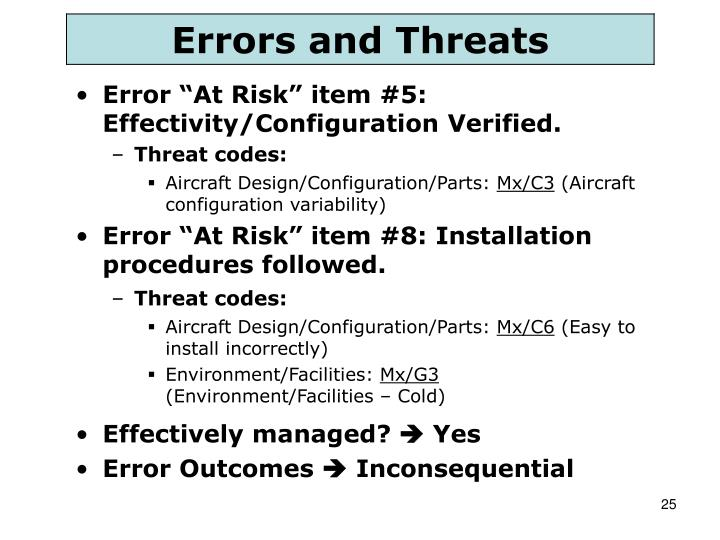"Error ""At Risk"" item #5: Effectivity/Configuration Verified."