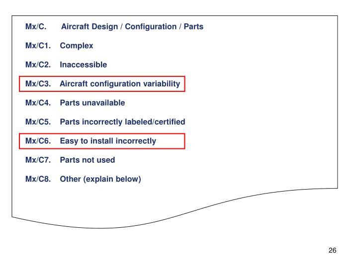 Mx/C.Aircraft Design / Configuration / Parts