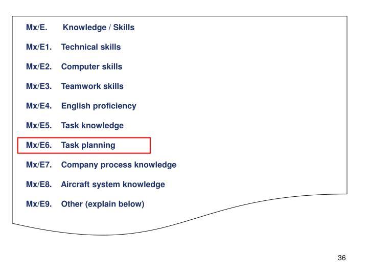 Mx/E.Knowledge / Skills