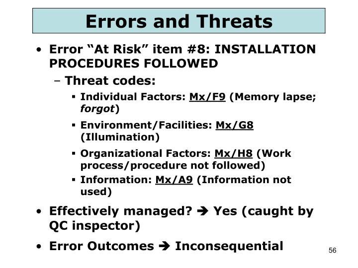 """Error """"At Risk"""" item #8: INSTALLATION PROCEDURES FOLLOWED"""