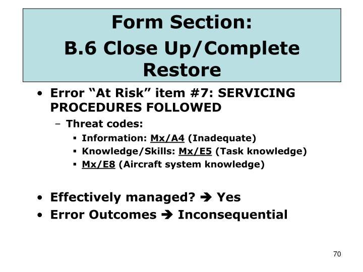 "Error ""At Risk"" item #7: SERVICING PROCEDURES FOLLOWED"