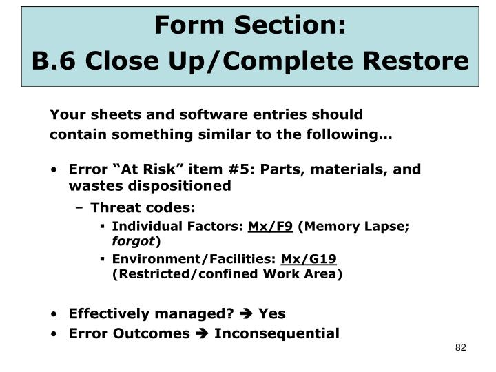 "Error ""At Risk"" item #5: Parts, materials, and wastes dispositioned"