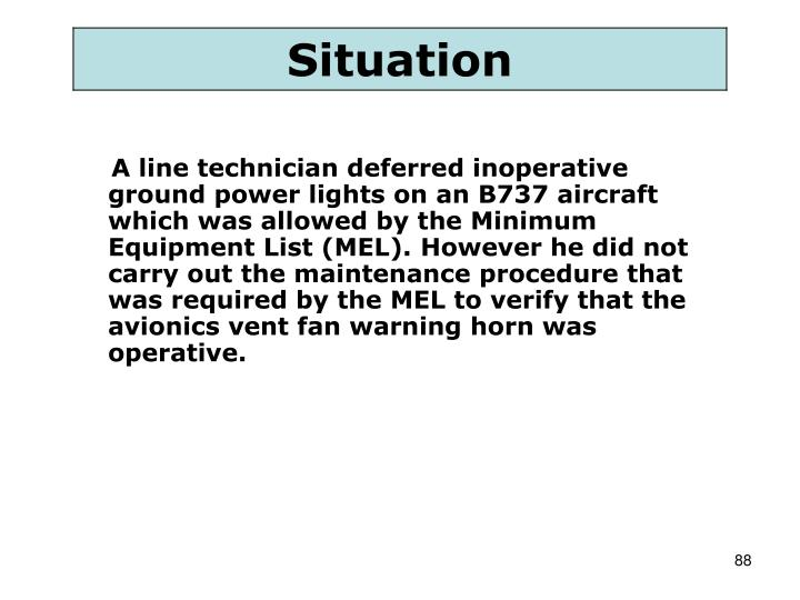 A line technician deferred inoperative ground power lights on an B737 aircraft which was allowed by the Minimum Equipment List (MEL). However he did not carry out the maintenance procedure that was required by the MEL to verify that the avionics vent fan warning horn was operative.