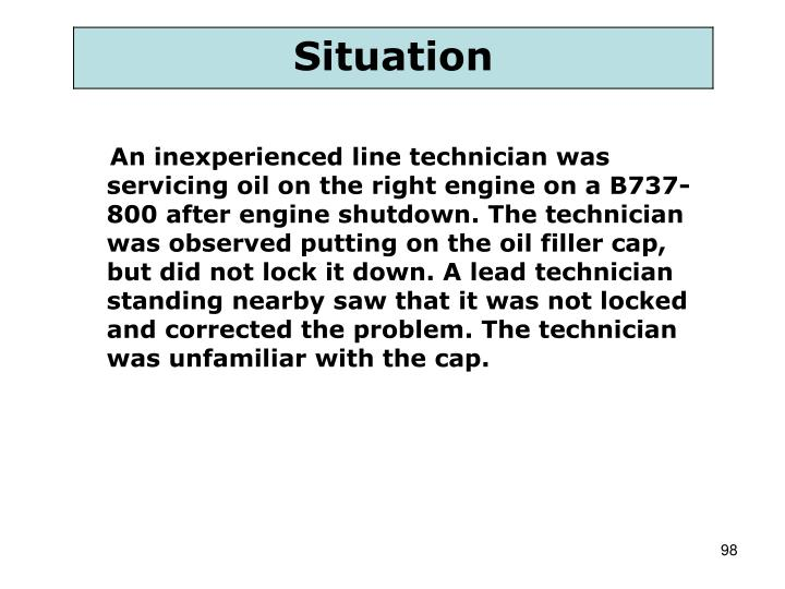 An inexperienced line technician was servicing oil on the right engine on a B737-800 after engine shutdown. The technician was observed putting on the oil filler cap, but did not lock it down. A lead technician standing nearby saw that it was not locked and corrected the problem. The technician was unfamiliar with the cap.