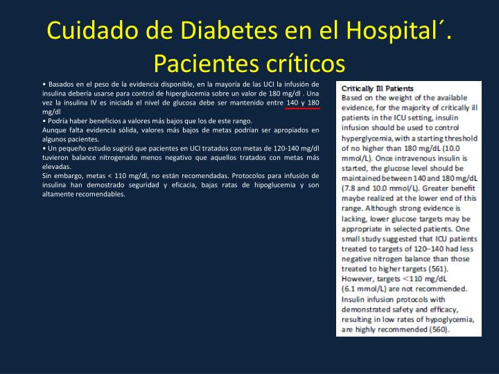 Cuidado de Diabetes en el Hospital´. Pacientes críticos