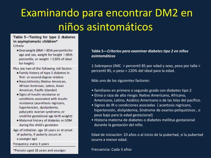 Examinando para encontrar DM2 en niños asintomáticos