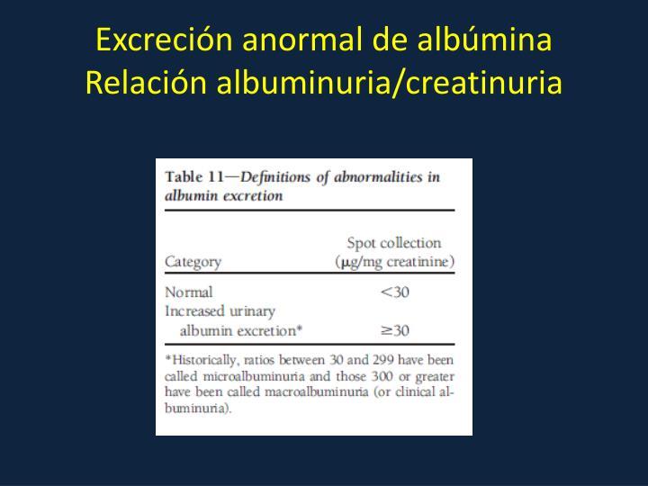 Excreción anormal de albúmina