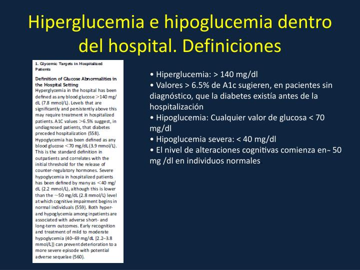 Hiperglucemia e hipoglucemia dentro del hospital. Definiciones