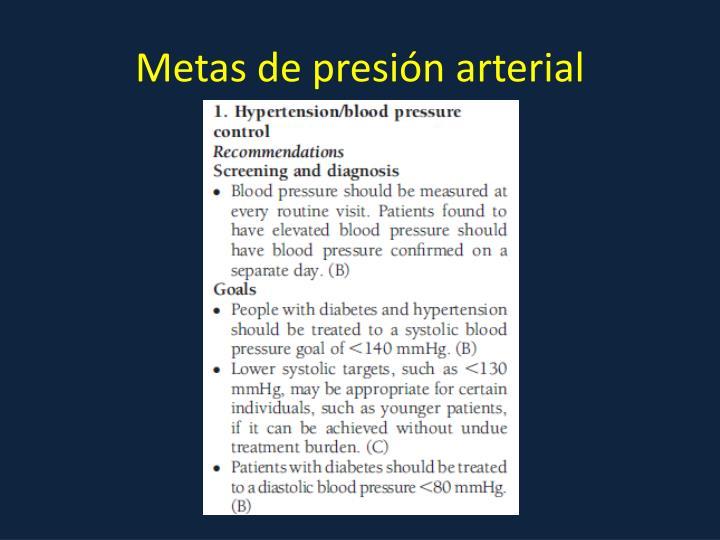 Metas de presión arterial