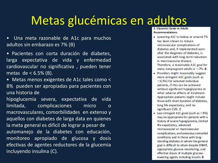 Metas glucémicas en adultos