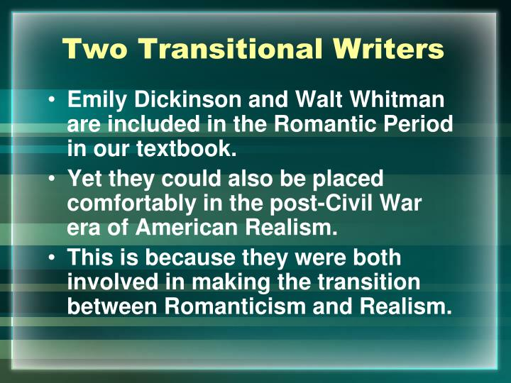 an analysis of the poetry of walt whitman and emily dickinson Students will find a modern poem with a similar theme found in an emily dickinson or walt whitman poem.