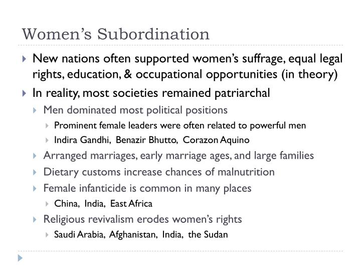 Patriarchal subordination of women