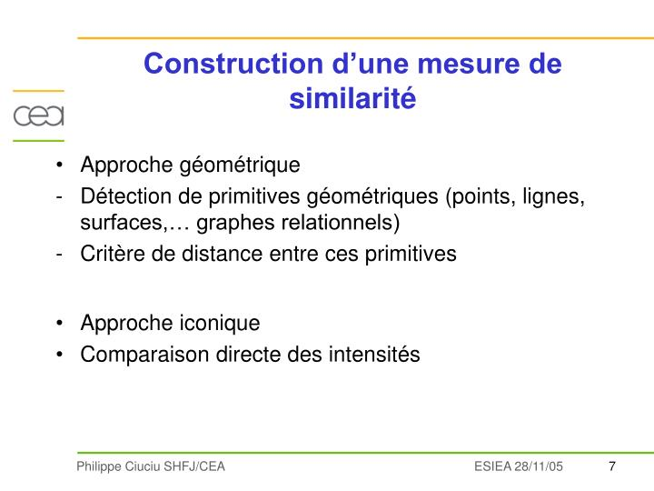 Construction d'une mesure de similarité