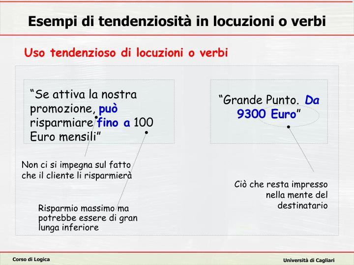Esempi di tendenziosità in locuzioni o verbi