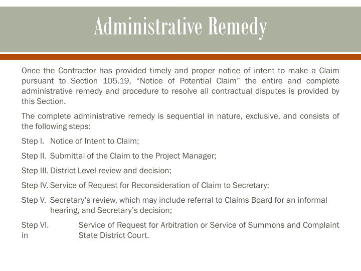 Administrative Remedy