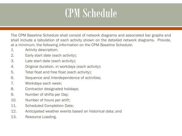 CPM Schedule