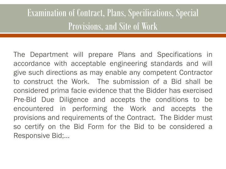 Examination of Contract, Plans, Specifications, Special Provisions, and Site of Work
