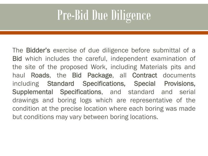 Pre-Bid Due Diligence