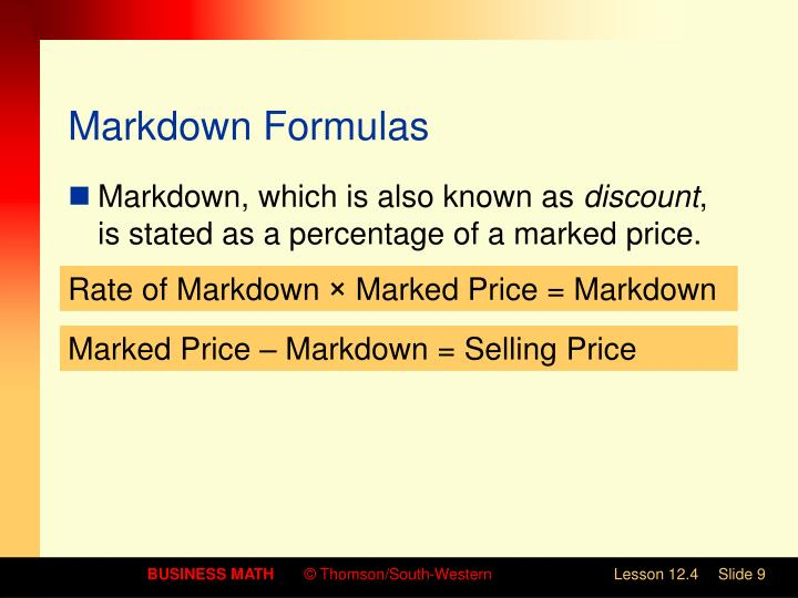Markdown Formulas