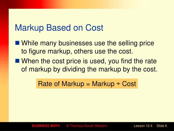 Markup Based on Cost
