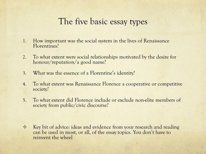 The five basic essay types