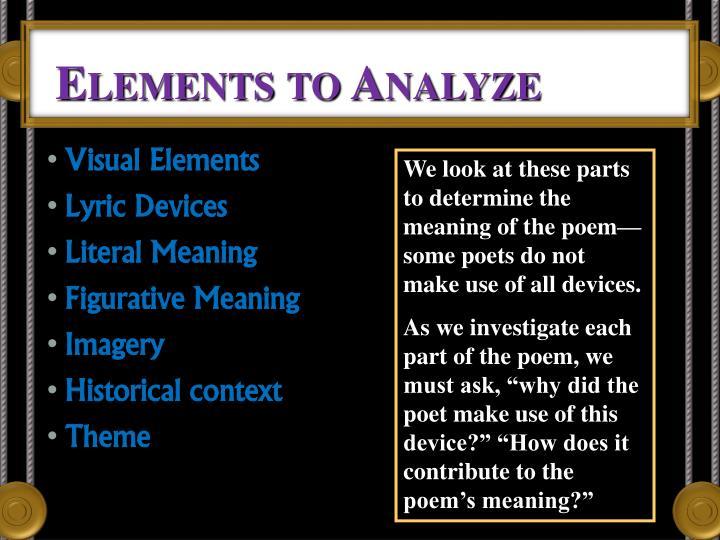 Elements to Analyze