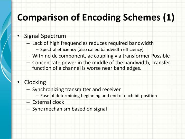 Comparison of Encoding Schemes (1)
