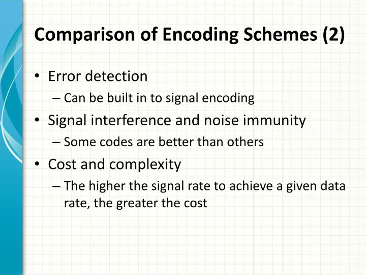 Comparison of Encoding Schemes (2)