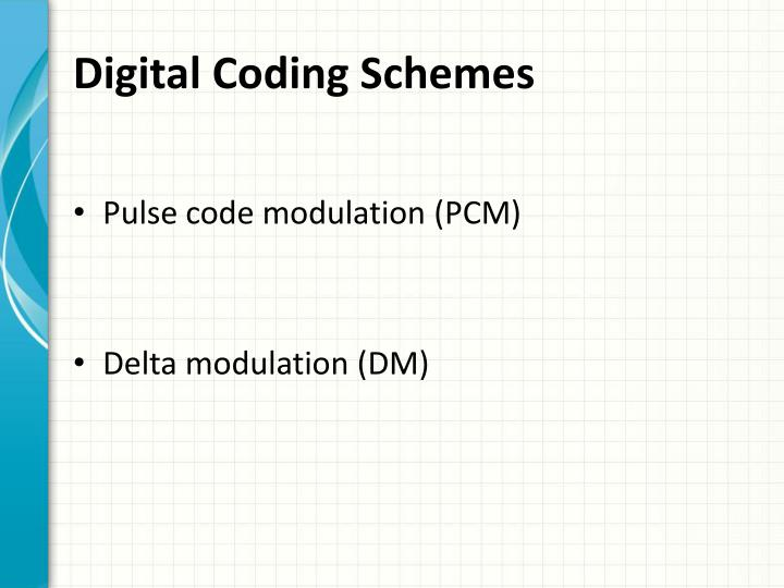 Digital Coding Schemes