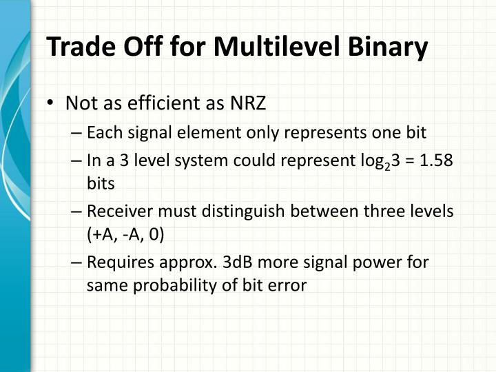 Trade Off for Multilevel Binary