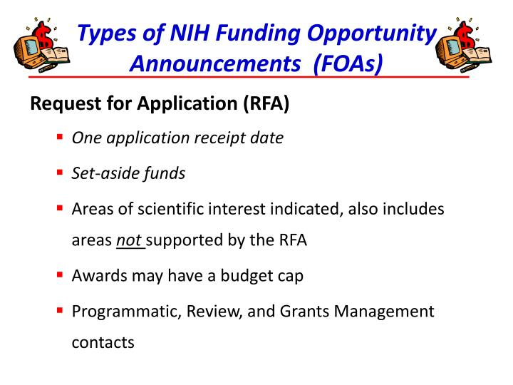 Types of NIH Funding Opportunity Announcements  (FOAs)
