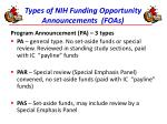 types of nih funding opportunity announcements foas2