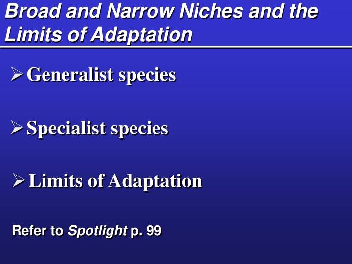 Broad and Narrow Niches and the Limits of Adaptation