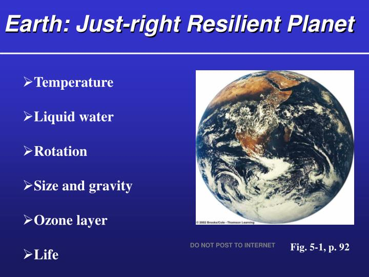 Earth just right resilient planet