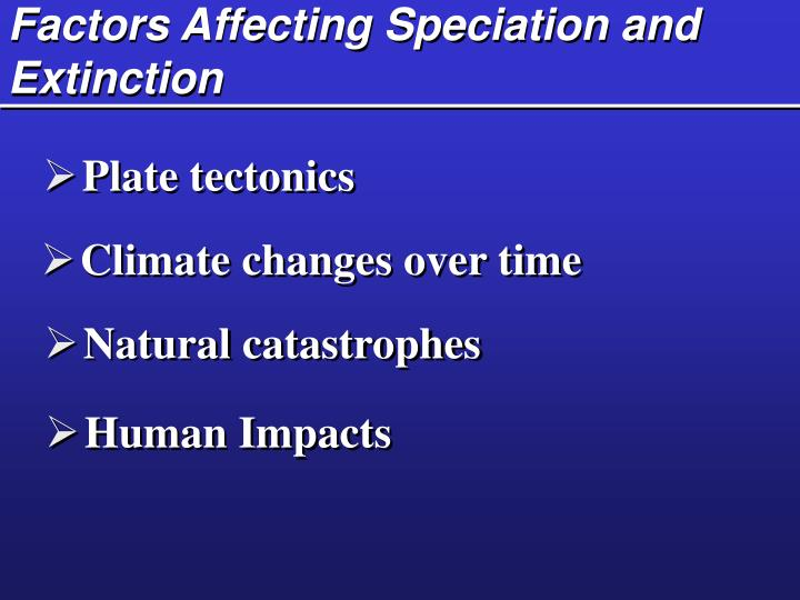 Factors Affecting Speciation and Extinction