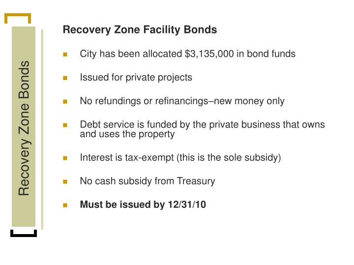Recovery Zone Facility Bonds
