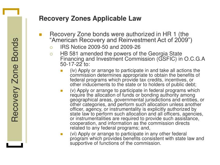 Recovery Zones Applicable Law