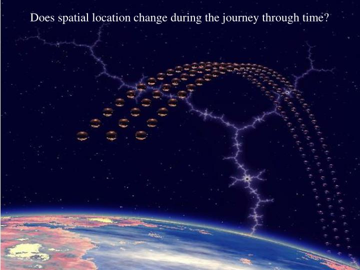Does spatial location change during the journey through time?