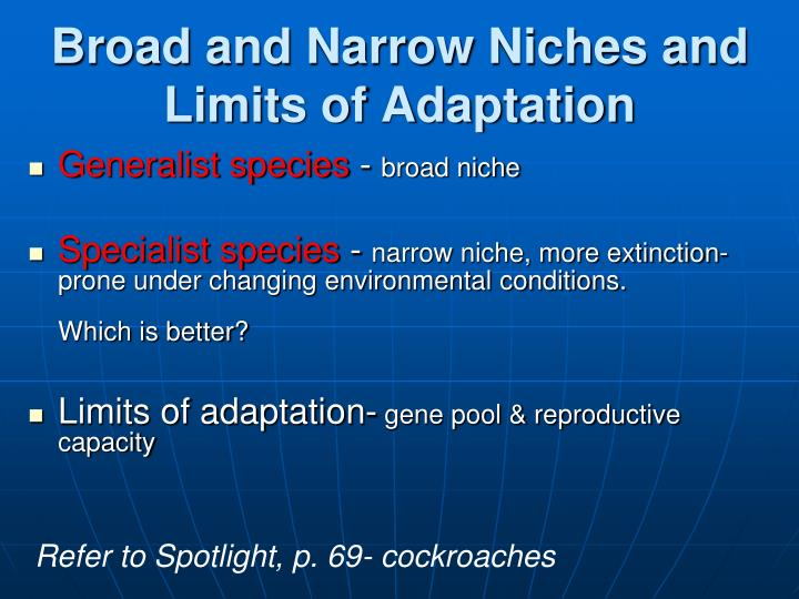 Broad and Narrow Niches and Limits of Adaptation