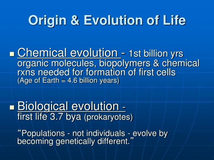 Origin & Evolution of Life