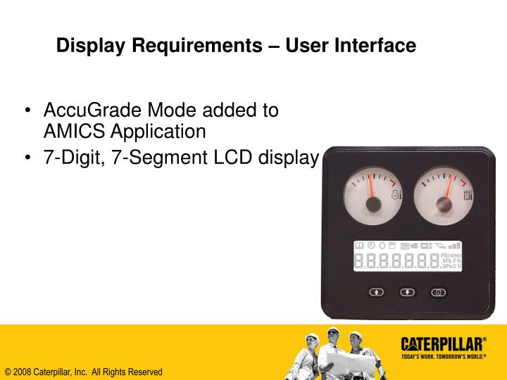 Display Requirements – User Interface