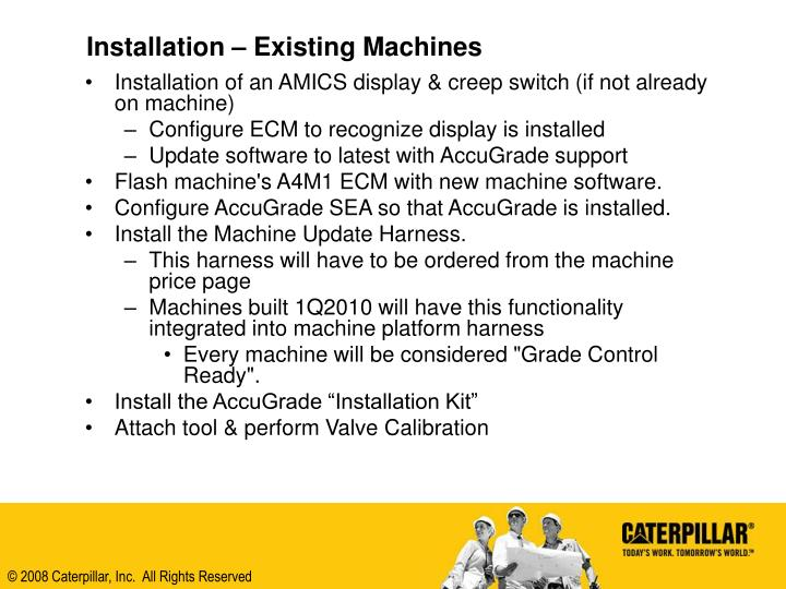Installation – Existing Machines